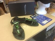 Tamaris Trend green leather snakeskin print sandal with stone detail,toe-post 6