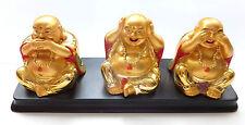 3 Happy Buddha - nichts hören , sehen und sagen - gold farbig