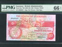 Guernsey:P-55a,20 Pounds,1991-95 * Arms * PMG Gem UNC 66 EPQ *