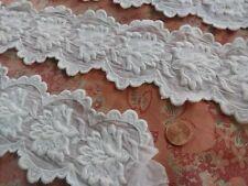 Antique HEAVILY  Embroidered Lace FLORAL Trim vintage dolls lot  Motif 1 yard