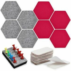 8 Felt Hexagon Bulletin Boards, 10 Push Pins, 20 Adhesives (5.9 x 7 in, 38 Pcs)