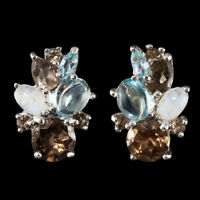 NATURAL 7MM SMOKY QUARTZ BLUE TOPAZ RAINBOW MOONSTONE RARE SILVER 925 EARRING