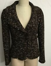 St. John Women's Tweed Blazer Notch Collar Size 6 Brown Metallic Lining Flawed