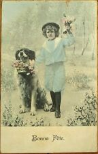St. Bernard Dog & Little Boy 1906 French Fantasy Postcard
