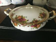 Royal Albert OC Roses Gold Accented Bone China Covered Vegetable Bowl