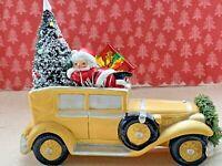 Vintage Mid Century Christmas Bottlebrush Tree Santa Claus Auto Car Assemblage