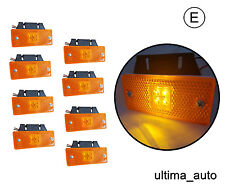 8X 12V 24V 4 LED Side Marker Amber Lights TRUCK LORRY TRAILER BUS w Brackets