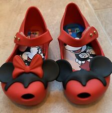 NEW Mini Melissa X Disney Mickey Minnie Mouse Little Girls Sz 9 Red Summer Shoe
