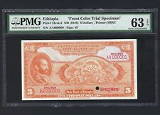 Ethiopia 5 Dollars ND(1945) P13cct  Colour Trial  Uncirculated
