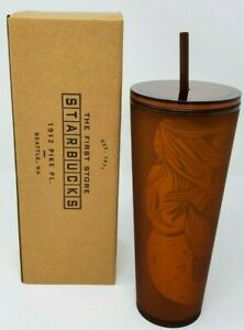 Exclusive Starbucks Pike Place Amber Siren Tumbler 24 oz Seattle First Store