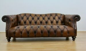 Lewis Montgomery 3 Seater Chesterfield Sofa Brown Antique leather