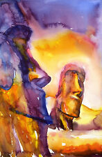 Moai heads on Easter Island- Chile.  Watercolor print.  Watercolor painting art