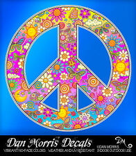 Peace Sign Flowers Sunshine Vinyl Sticker Decal, perfect for cooler, binder, car