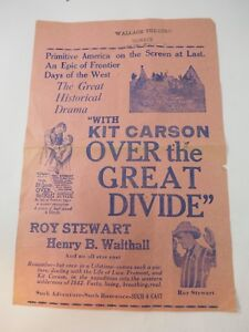 """""""Over the Great Divide"""" with Kit Carson, Movie Theatre Poster Circa 1920"""