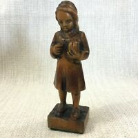 Vintage Hand Carved Figure Statue Young Girl Child Wood Wooden Spanish Carving