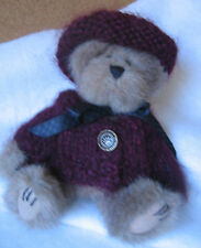 """Boyds Bear 6"""" Stuffed Jointed Bear The Archive Collection Maroon Sweater & Hat"""