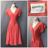 Vintage Woolworths Peach Cotton Embroidered Dress UK 12 EUR 40