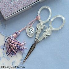 """Sajou French Faux Mother of Pearl  """"S"""" Series Embroidery Scissors, Collectors"""