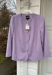 NWT Talbots Gorgeous Lavender Italian Wool Scalloped Close Lined Blazer 16W 1X