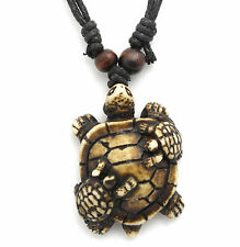 Adjustable Necklace with Brown Turtle Design Tribal Wood-look Pendant