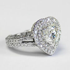5.10 CT FOREVER FOREVER ONE GHI HEART / DIAMOND HALO BAND ENGAGEMENT RING