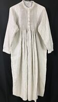 L.L. Bean Nightgown Long Sleeve Pintuck Striped Flannel Cream Women Size L - VTG