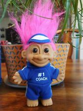 "#1 COACH TROLL DOLL 3 3/4"" Russ PINK HAIR with Blue Jogging Suit and Sun Visor"