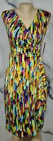 PEACH VELVET NEW NWT Black Multicolor Brushstroke Print Dress 6 Front Drape