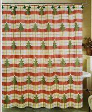 CHRISTMAS TREE PLAID FABRIC SHOWER CURTAIN + HOOKS ~ CHRISTMAS / HOLIDAY ~ NEW