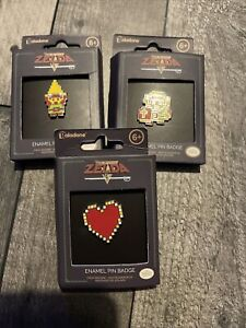 Zelda Enamel Pin Badge Paladone Nintendo New Sealed Set Of 3