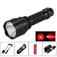 5000Lm XML RED LED Q5 Tactical Flashlight Torch Gun Mount Light Red Dot Sight