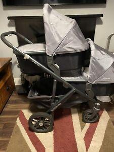 Uppababy Vista Twin Double Pram Pushchair Pascal Grey Huge Bundle