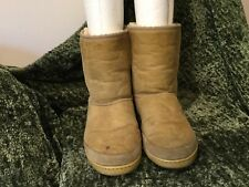 Vintage Original Ugg Boot Australia UGG Light Tan Suede Sheepskin Boots 8