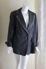 Escada 46 16 14 Most Elegant Charcoal Woven Sleek Wool Suit Pants Blazer Jacket