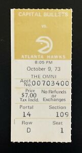 1973 Washington Capital Bullets First Game in Franchise History ticket stub NBA
