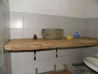 Wurmeiche, Eichenbohle,Waschtischplatte,ca.120x40-45x4cm,Eiche,geschliffen, alt