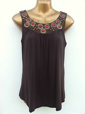 SOUTH Jewel Embellished Chocolate Jersey Top Size 12 Sleeveless WORN ONCE