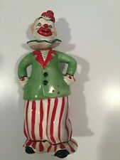 """Hand Painted Ceramic Clown Decanter Made in Japan 7-3/4"""" tall"""