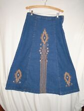 Ashro Size 14 Long Denim Skirt Ankle Length Modest Embroidered No Split