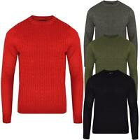 Men Chunky Plain Cable Knit Jumper Sweater Pullover Long Sleeve Crew Neck Smart