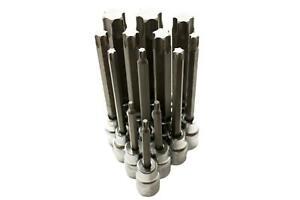 """1/2"""" Steckschlüssel-Set T20-T100 (13 Stück) ohne Stirnloch Cr-V (S2) - #190918"""
