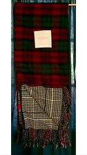 Isaac Mizrahi Red Plaid/Houndstooth Acrylic Decorative Throw Blanket NEW!