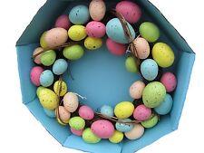"""Speckled Egg Spring Grape Vine Easter Decoration Wreath Pastel Vibrant Color 15"""""""