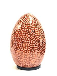 """Lamp Red Mosaic Glass Bali 12"""" Egg Shape Hand Made Unique Art by ZENDA IMPORTS"""
