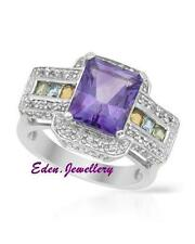 $350 FPJ Gorgeous Ring Amethyst Citrine Peridot Topaz 925 Sterling Silver 60%OFF