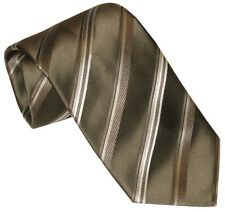 NEW BRIONI SATIN OLIVE TAUPE & WHITE DIAGONAL STRIPE 100% SILK NECK TIE