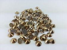 CraftbuddyUS 100pcs 8mm Rose Gold Hot Fix Cone Spike Stud, DIY Gem, Stick on