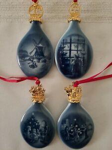 Bing & Grondahl 4 Porcelain Christmas Drop Ornaments 96-99 w Boxes Denmark