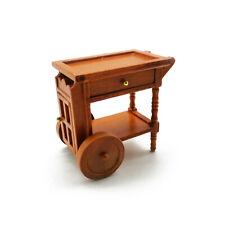 Dollhouse Retro Dining Room Manual Storage Cart with Wheels 1:12 Miniature Decor