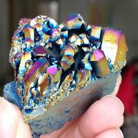 1pc Rainbow Titanium Cluster Natural Quartz Crystal Point Healing VUG Home Decor